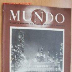 Militaria: MUNDO Nº 297 - 13 DE ENERO DE 1946 - REVISTA SEMANAL DE POLÍTICA EXTERIOR Y ECONOMÍA. Lote 24841639