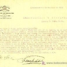 Militaria: REGULARES. CARTA DEL CUARTO GRUPO DE REGULARES A BODEGAS OSBORNE.ALCAZARQUIVIR 1928 . Lote 27243356