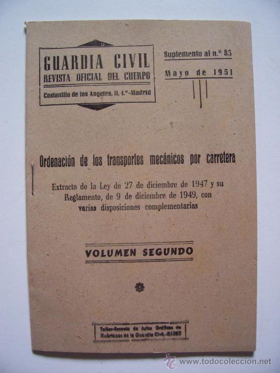 GUARDIA CIVIL , REVISTA OFICIAL DEL CUERPO, SUPLEMENTO AL Nº85, OCTUBRE 1951 (Militar - Revistas y Periódicos Militares)