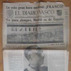 Militaria: EL DIARIO VASCO 29 DE MARZO DE 1939. MADRID ES ESPAÑA.. Lote 26034013