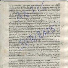Militaria: DIARIO DE BARCELONA AÑO 1835 CARLISMO PRIMERA GUERRA CARLISTA PUEBLA DE SANABRIA BRAGANZA BENAVENTE. Lote 21685200