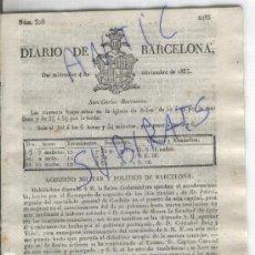 Militaria: DIARIO.BARCELONA.04-11-1835.CARLISMO.PRIMERA GUERRA CARLISTA.DECRETOS.ORDEN DE SAN FERNANDO.. Lote 21685758