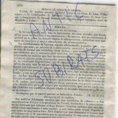 Militaria: DIARIO BARCELONA AÑO 1835 CARLISMO PRIMERA GUERRA CARLISTA PAMPLONA LARRAGA ANDUJAR CONDE ALMODOVAR. Lote 21686047
