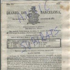 Militaria: DIARIO.BARCELONA.29-11-1835.CARLISMO.PRIMERA GUERRA CARLISTA.VALLE DE MENA.BAÑOLAS.FIGUERAS.DESACATO. Lote 21689599