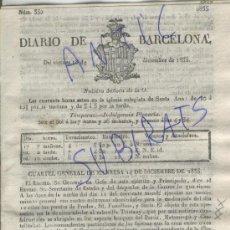 Militaria: DIARIO DE BARCELONA 1835 CARLISMO PRIMERA GUERRA CARLISTA EN FONOLLOSA SU SURIA MANRESA TRISTANY. Lote 21700443