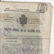 Militaria: BOLETIN.GUARDIA CIVIL.AÑO 1861.VILLAREJO.CIEMPOZUELOS.VERGES. PONS.TORRENTE.BARRACAS.ORIHUELA.LUCENA. Lote 26335712
