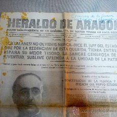 Militaria: RECORTE PERIODICO, HERALDO ARAGON, GUERRA CIVIL ESPAÑOLA, 1939, CATALANES NO OLVIDEIS NUNCA. Lote 27629246