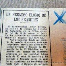 Militaria: RECORTE PERIODICO, HERALDO ARAGON, GUERRA CIVIL ESPAÑOLA, ELOGIO A LOS REQUETES, ABRIL 1938. Lote 27629801