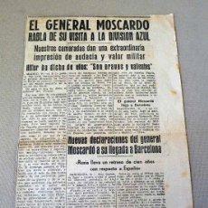Militaria: RECORTE DE PERIODICO, DIVISION AZUL, FALANGE, GENERAL MOSCARDO VISITA A LA DIVISION AZUL. Lote 28665675