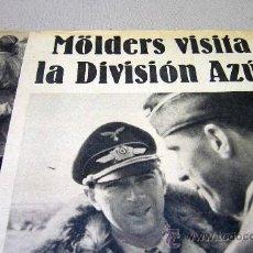 Militaria: DIVISION AZUL, PAGINA, RECORTE, REVISTA DER ADLER, MÖLDERS VISITA A LA DIVISION AZUL, 1940S. Lote 31315188