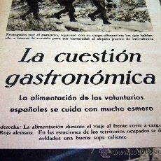 Militaria: DIVISION AZUL, PAGINA, RECORTE, REVISTA DER ADLER, LA CUESTION GASTRONOMICA, 1940S. Lote 31315611