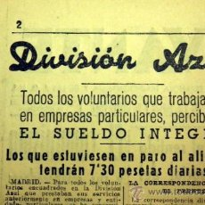 Militaria: RECORTE PERIÓDICO, DIVISION AZUL, AYUDAS A LOS VOLUNTARIOS, LEVANTE, 7 DE AGOSTO DE 1941, VALENCIA. Lote 39082084