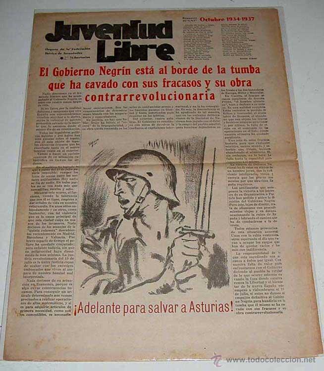 ANTIGUO PERIODICO JUVENTUD LIBRE . 9 DE OCTUBRE DE 1937 . PERIODICO DE LA ORGANIZACION JUVENIL CONFE (Militar - Revistas y Periódicos Militares)