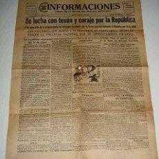 Militaria: ANTIGUO PERIODICO INFORMACIONES, DIARIO DE LA NOCHE DEL PARTIDO SOCIALISTA - 14 DE ABRIL DE 1938 - P. Lote 38250508