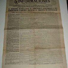 Militaria: ANTIGUO PERIODICO INFORMACIONES, DIARIO DE LA NOCHE DEL PARTIDO SOCIALISTA - 1 DE JUNIO DE 1938 - PL. Lote 38250509