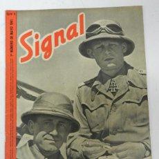 Militaria: ANTIGUA REVISTA SIGNAL, 1ER NUMERO DE MAYO DE 1941, TIENE 46 PAGINAS, POSTER CENTRAL A COLOR, TAMAÑO. Lote 38284726
