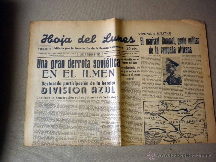 PERIODICO, HOJA DEL LUNES, 1942, DERROTA SOVIETICA EN ILMEN, HEROICA PARTICIPACION, DIVISION AZUL (Militar - Revistas y Periódicos Militares)