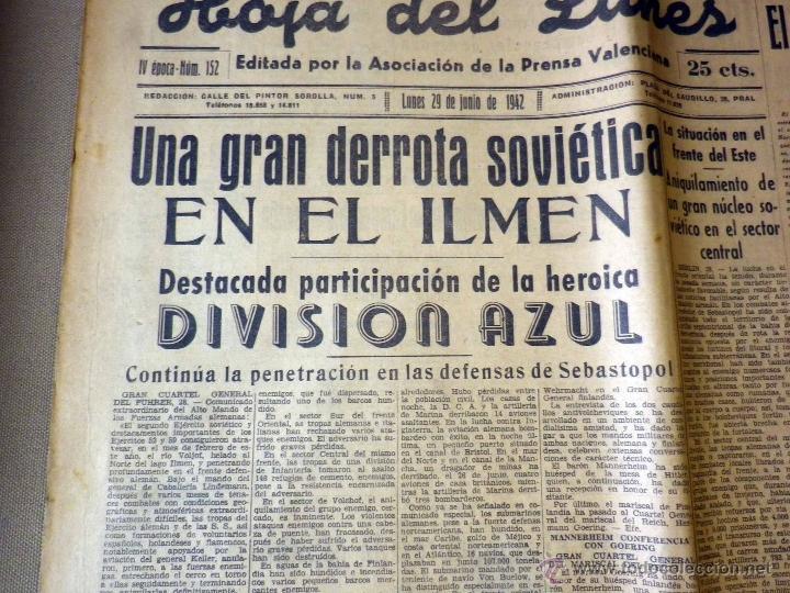 Militaria: PERIODICO, HOJA DEL LUNES, 1942, DERROTA SOVIETICA EN ILMEN, HEROICA PARTICIPACION, DIVISION AZUL - Foto 2 - 41202849