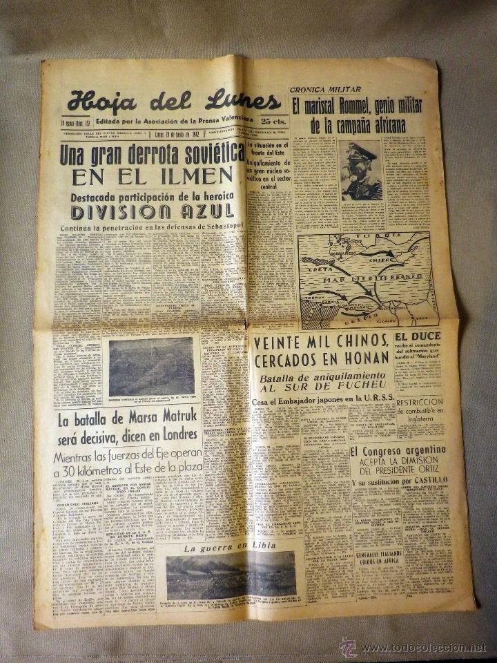 Militaria: PERIODICO, HOJA DEL LUNES, 1942, DERROTA SOVIETICA EN ILMEN, HEROICA PARTICIPACION, DIVISION AZUL - Foto 3 - 41202849