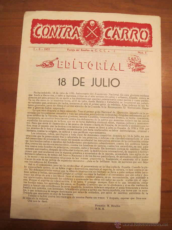 REVISTA CONTRACARRO Nº 4 - REVISTA MENSUAL DEL BATALLON DE C.C.C. Nº1 BARCELONA - AÑO 1955. R-2097 (Militar - Revistas y Periódicos Militares)