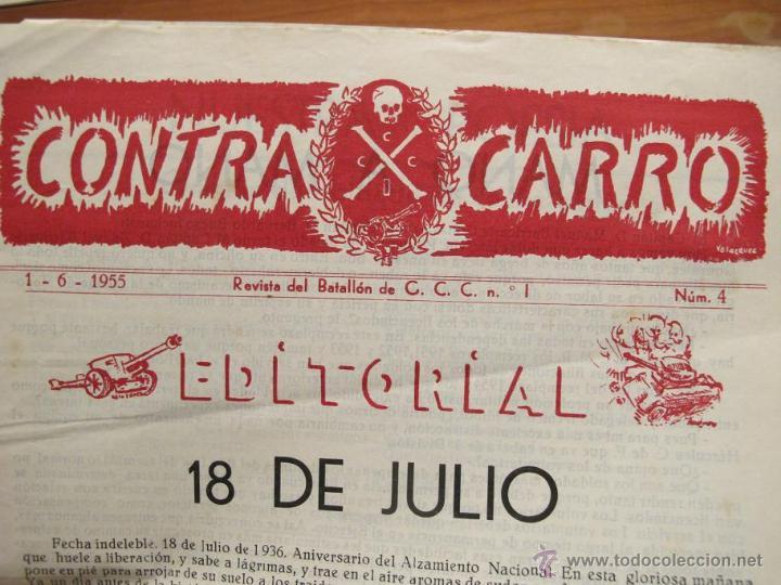 Militaria: REVISTA CONTRACARRO Nº 4 - REVISTA MENSUAL DEL BATALLON DE C.C.C. Nº1 BARCELONA - AÑO 1955. R-2097 - Foto 2 - 42289847