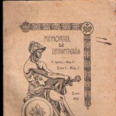 Militaria: MEMORIAL DE INFANTERÍA. AÑO 1º. TOMO I .NÚMERO 1º. ENERO 1912. SUMARIO. MUY BUEN ESTADO.. Lote 42780432