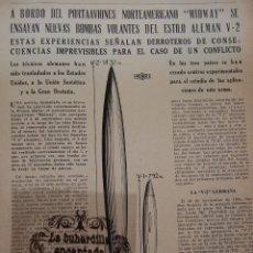 Militaria: ARTICULO REVISTA 5/10/1947 - PORTACIONES MIDWAY SE ENSAYAN BOMBAS VOLANTES AL ESTILO V2 ALEMAN 4 PAG. Lote 44855758
