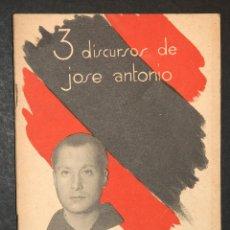 Militaria: 3 DISCURSOS DE JOSE ANTONIO EDITADO POR LA JEFATURA NACIONAL DE PRENSA Y PROPAGANDA. Lote 46006500