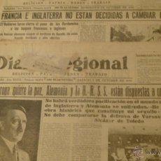 Militaria: LOTE PERIODICOS RAROS 1939 FALSO OFRECIMIENTO DE PAZ DE ALEMANIA FOTO HITLER. Lote 52663662