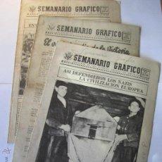 Militaria: LOTE 3 PUBLICACIONES SEMANARIO GRAFICO AÑO 1945 EMBAJADA DE LOS ESTADOS UNIDOS DE AMERICA. Lote 52670457