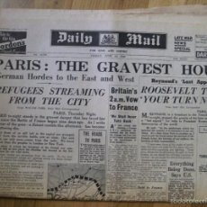 Militaria: DAILY MAIL. JUNE 14. 1940 - PRENSA SEGUNDA GUERRA MUNDIAL - PARIS: THE GRAVEST HOUR. Lote 58549786