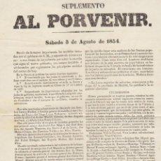 Militaria: SUPLEMENTO AL PORVENIR. SÁBADO 5 DE AGOSTO DE 1854 (SEVILLA)...... Lote 60138635