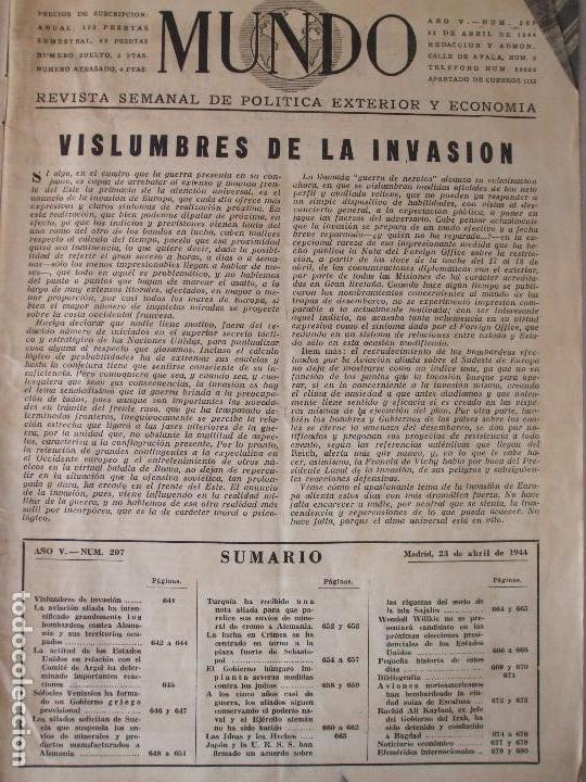 Militaria: REVISTA MUNDO - ABRIL 1944 - Foto 2 - 65833046