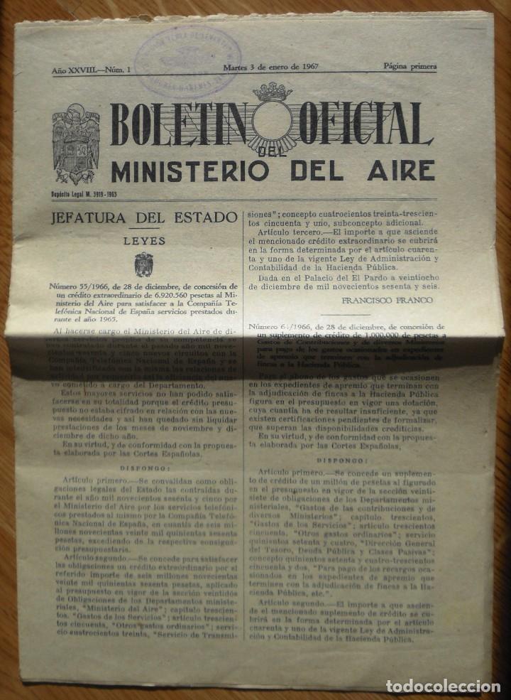 BOLETÍN OFICIAL DEL MINISTERIO DEL AIRE. AÑO XXVIII. Nº 1. MARTES, 3 ENERO 1967. 12 PÁGINAS. (Militar - Revistas y Periódicos Militares)
