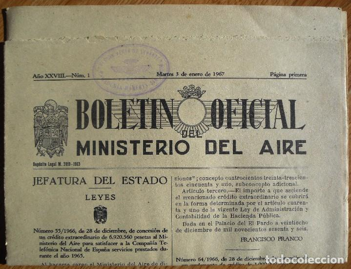 Militaria: Boletín Oficial del Ministerio del Aire. Año XXVIII. Nº 1. Martes, 3 enero 1967. 12 páginas. - Foto 2 - 69119637