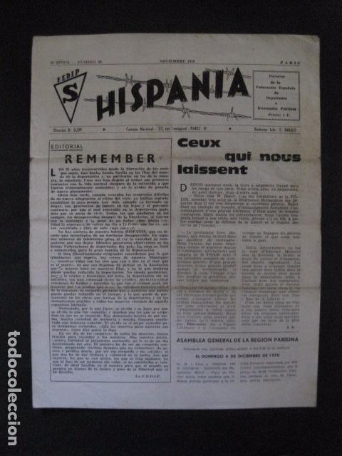 HISPANIA- REVISTA DEPORTADOS E INTERNADOS POLITICOS - NUM. 36 - AÑO 1970 - VER FOTOS-(V- 10.932) (Militar - Revistas y Periódicos Militares)