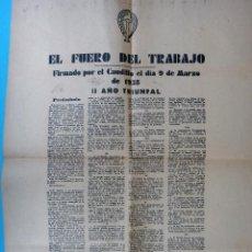 Militaria: DOCUMENTO GUERRA CIVIL, EL FUERO DEL TRABAJO DEL CAUDILLO DE 1938 , 1 HOJA , ORIGINAL. Lote 88159412