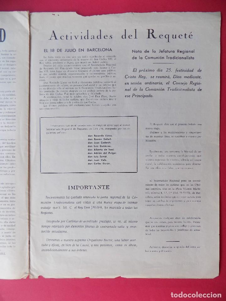 Militaria: PERIODICO EL REQUETE - Nº 1, EPOCA 2ª, OCTUBRE 1959 -BARCELONA - ORGANO OFICIAL DE REQUETES.. R-6303 - Foto 7 - 89241392