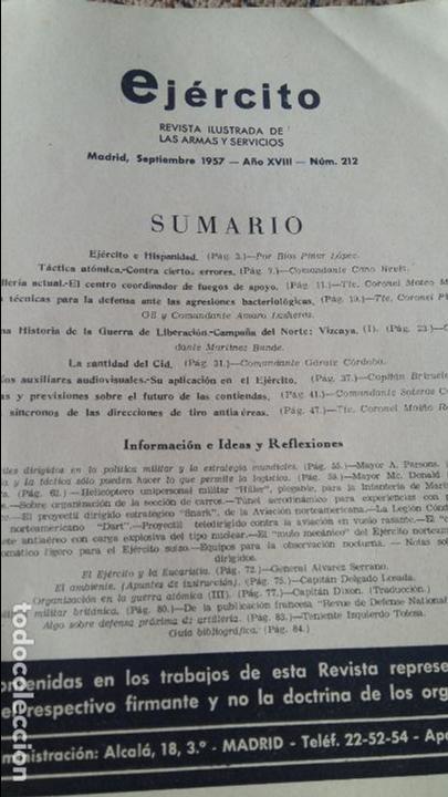 Militaria: EJERCITO. REVISTA ILUSTRADA DE LAS ARMAS Y SERVICIOS MINISTERIO DEL EJERCITO. SEPTIEMBRE 1957 - Foto 2 - 93342485