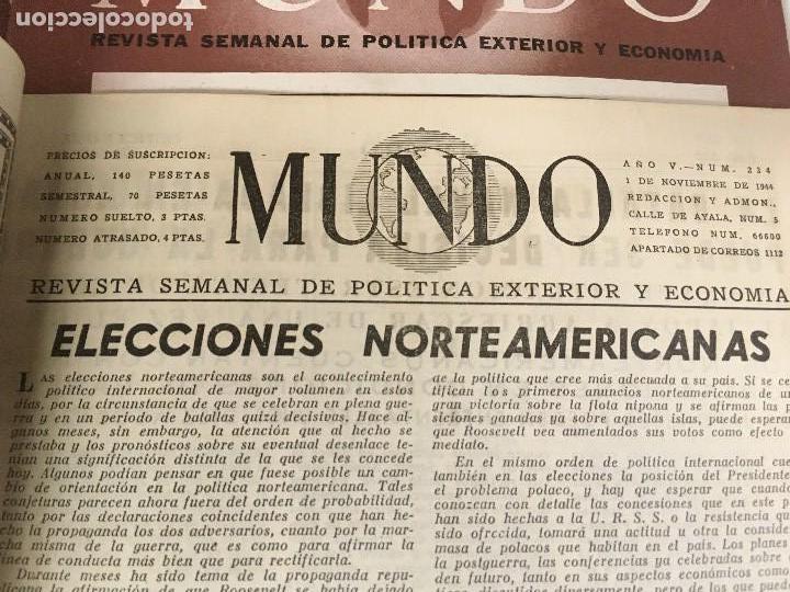 Militaria: LOTE 8 Revistas de política MUNDO nums 234 270 311 312 318 322 407 y 427 años 1944 a 1948 - Foto 6 - 95911343