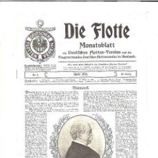 Militaria: DIE FLOTTE. ABRIL 1915. PERIÓDICO DE LA MARINA ALEMANA. Lote 103406355