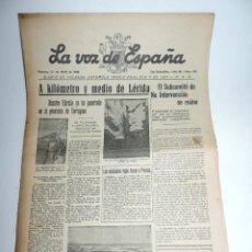 Militaria: LA VOZ DE ESPAÑA, DIARIO F.E.T. Y DE LAS JONS, 1 DE ABRIL DE 1938, GUERRA CIVIL, SAN SEBASTIAN Nº 47. Lote 106170507