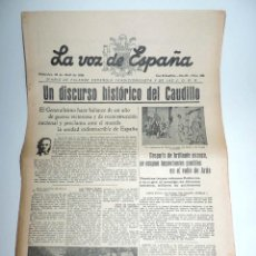 Militaria: LA VOZ DE ESPAÑA, DIARIO F.E.T. Y DE LAS JONS, 20 DE ABRIL DE 1938, GUERRA CIVIL, SAN SEBASTIAN Nº 4. Lote 106172831