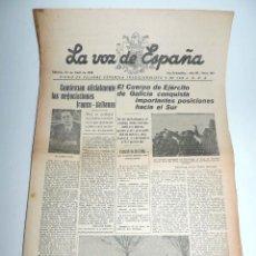 Militaria: LA VOZ DE ESPAÑA, DIARIO F.E.T. Y DE LAS JONS, 23 DE ABRIL DE 1938, GUERRA CIVIL, SAN SEBASTIAN Nº 4. Lote 106173859