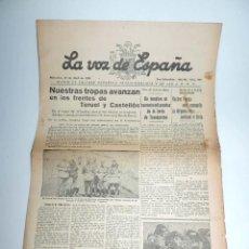 Militaria: LA VOZ DE ESPAÑA, DIARIO F.E.T. Y DE LAS JONS, 27 DE ABRIL DE 1938, GUERRA CIVIL, SAN SEBASTIAN Nº 4. Lote 106175011