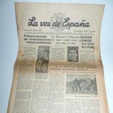 Militaria: LA VOZ DE ESPAÑA, DIARIO F.E.T. Y DE LAS JONS, 29 DE ABRIL DE 1938, GUERRA CIVIL, SAN SEBASTIAN Nº 4. Lote 106176587