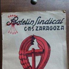 Militaria: BOLETIN SINDICAL. C N S ZARAGOZA. NUMERO 2. NOVIEMBRE 1941. Lote 107268819