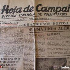 Militaria: HOJA DE CAMPAÑA DE LA DIVISIÓN AZUL - MIERCOLES 11 NOVIEMBRE 1942. Lote 109206855