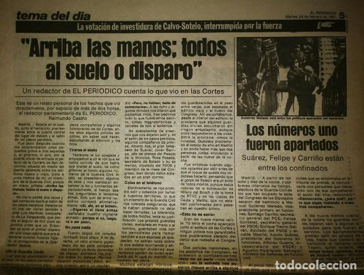Militaria: Golpe de estado 23F. El Periódico de Catalunya. 24 de febrero 1981. Segunda edición. 39 páginas - Foto 7 - 120156691