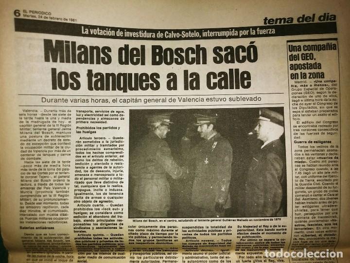 Militaria: Golpe de estado 23F. El Periódico de Catalunya. 24 de febrero 1981. Segunda edición. 39 páginas - Foto 10 - 120156691